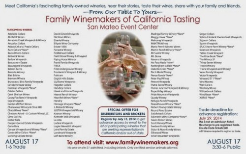Family Winemakers Tasting: August 17th